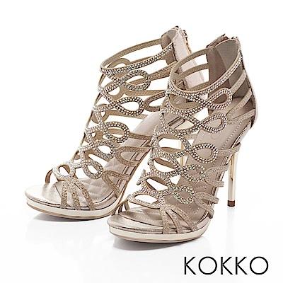 KOKKO -華麗年代水鑽盛宴高跟透膚涼鞋-璀璨金