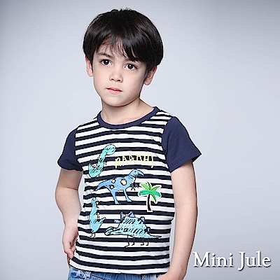 Mini Jule 童裝-上衣 手繪風恐龍條紋短袖T恤(寶藍)