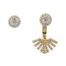 apm MONACO法國精品珠寶 閃耀金色不對稱扇形鑲鋯耳針式耳環