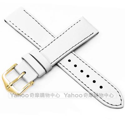 海奕施 HIRSCH Umbria M 簡約細緻柔軟小牛皮錶帶 防水可清洗-白