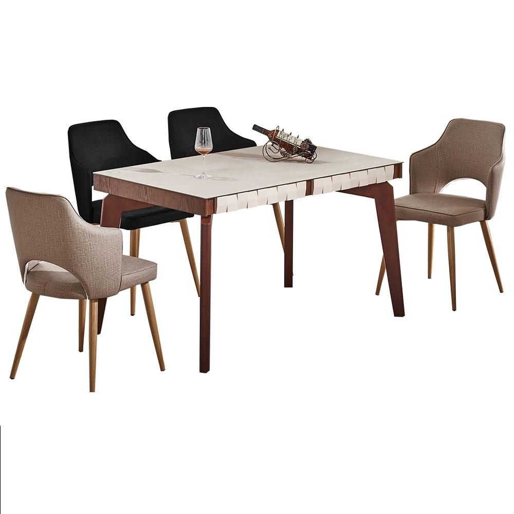 AT HOME-現代4.3尺胡桃色岩燒強化玻璃一桌四椅組(130*80*75cm)