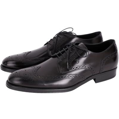 TOD'S LACE-UP 亮面皮革雕花綁帶德比鞋(男款/黑色)