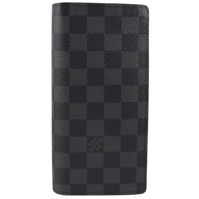 LV  N62665  Brazza 黑棋盤格紋雙折零錢長夾.黑