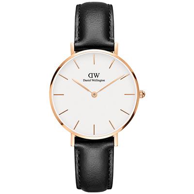 DW Daniel Wellington 經典雪菲爾黑色皮帶腕錶-金框/32mm