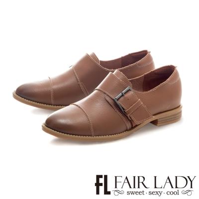 Fair Lady 文青風扣帶拼接紳士平底鞋 棕