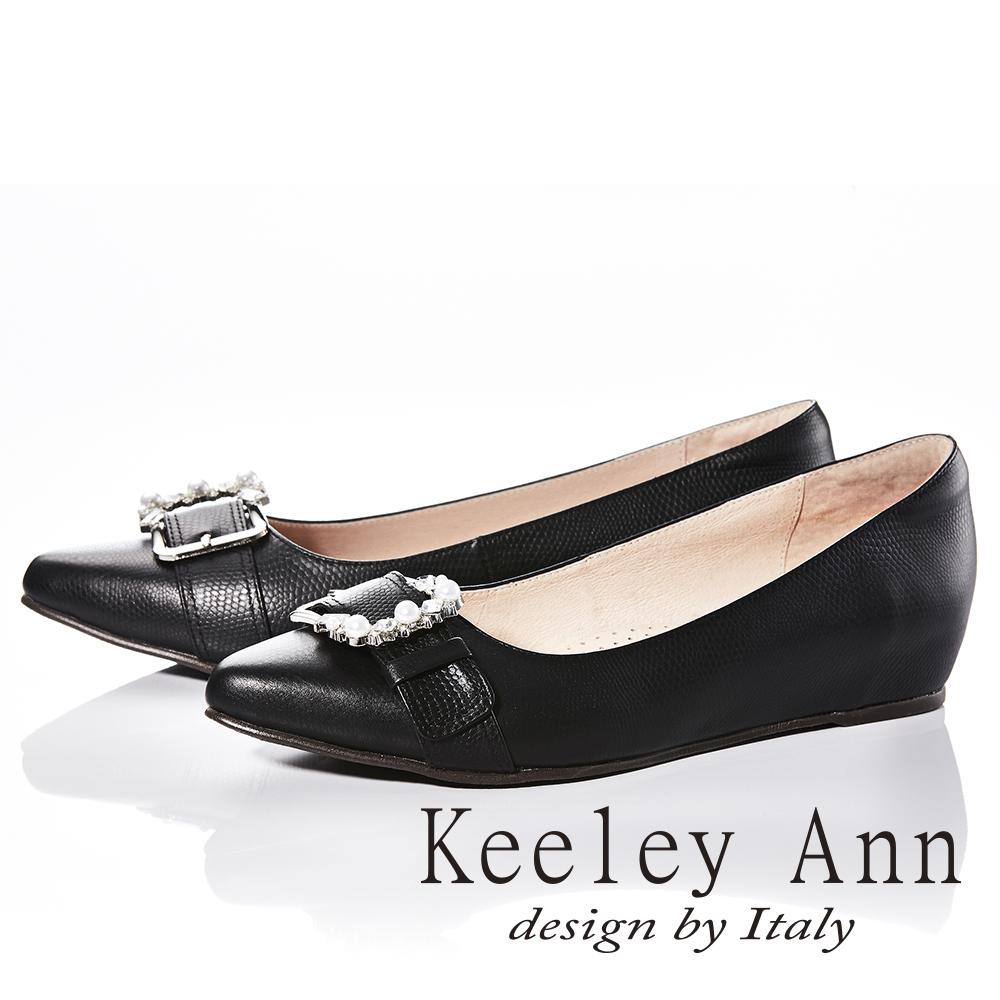 Keeley Ann質感壓紋~金屬飾釦水鑽OL全真皮微內增高尖頭鞋(黑色)