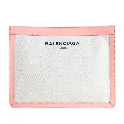 BALENCIAGA NAVY系列帆布皮革飾邊手拿包 粉紅