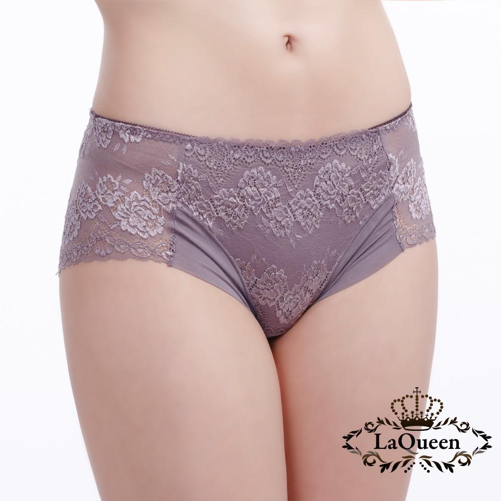 內褲  蕾絲緹花蠶絲內褲-紫芋 La Queen