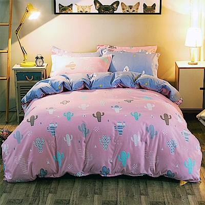 Ania Casa 仙人掌 雙人四件式 柔絲絨美肌磨毛 台灣製 雙人床包被套四件組