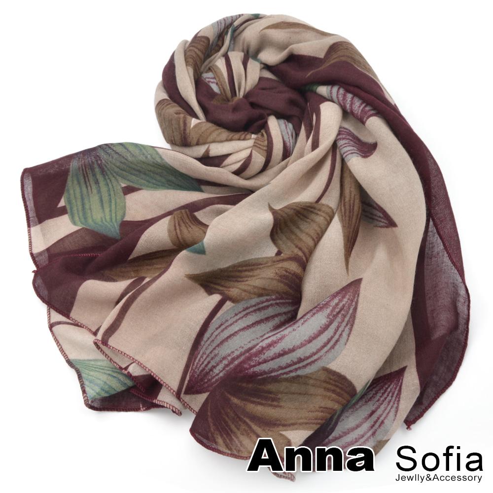 【2件450】AnnaSofia 花綻絮葉 拷克邊韓國棉圍巾披肩(酒紅色)