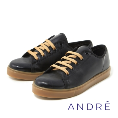 ANDRE-簡約繫帶休閒平底鞋-時髦黑