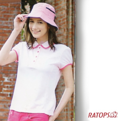 【瑞多仕】女款 OUTLAST 滾邊小袖POLO衫_DB7841 淺粉/洋紅色 V1