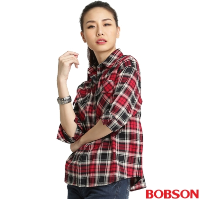 【BOBSON】女款寬版格紋長袖襯衫(紅15)