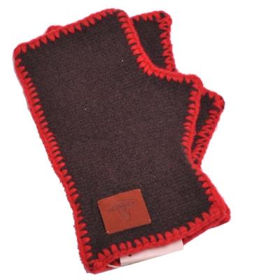 Vivienne Westwood 行星LOGO皮標造型滾邊露指羊毛手套(深咖啡底)