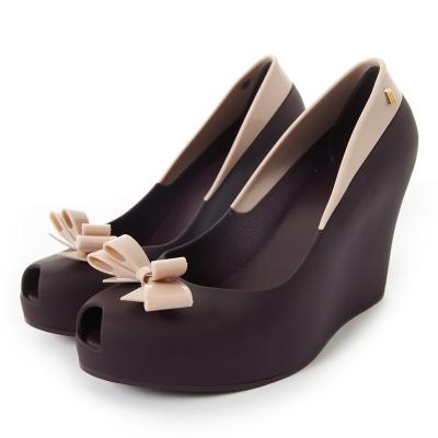 MELISSA-撞色蝴蝶結楔型魚口鞋-紫-粉