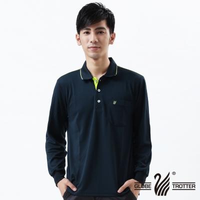 【遊遍天下】台灣製男款抗UV吸濕排汗機能POLO長衫L003丈青