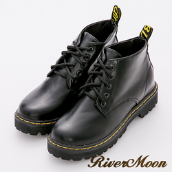 River&Moon加大尺碼短靴-經典綁帶縫線短筒馬丁靴-黑