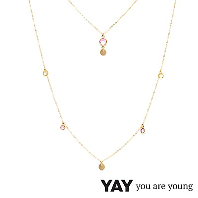 YAY You Are Young 法國品牌 Sultane 粉水晶長項鍊 金色 可調式