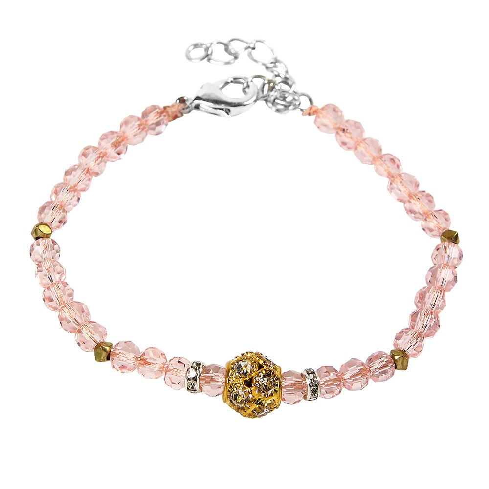 A1寶石時尚潮流款-晶鑽粉晶手鍊-旺桃花首選(含開光加持)