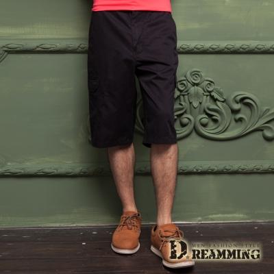 Dreamming 原宿輕薄透氣多口袋休閒七分短褲-黑色
