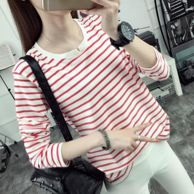 La Belleza韓系小V領橫條紋雙色橫條長袖棉T