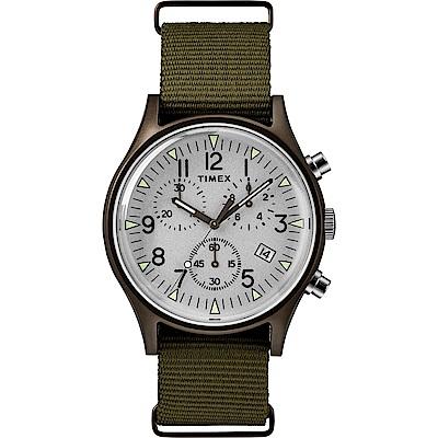 TIMEX 天美時 MK1 潮流軍錶 三眼計時手錶-銀面/橄欖綠/40mm