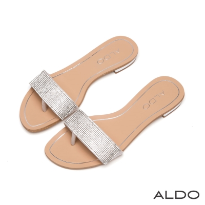 ALDO-閃耀星光布面一字滿鑽夾心涼鞋-耀眼銀色