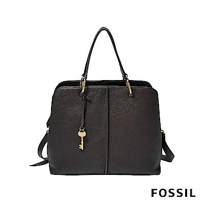 FOSSIL LANE 真皮俐落多夾層肩背/手提兩用包-黑色