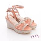 effie 輕音躍 全真皮編織條帶楔型涼鞋 橘
