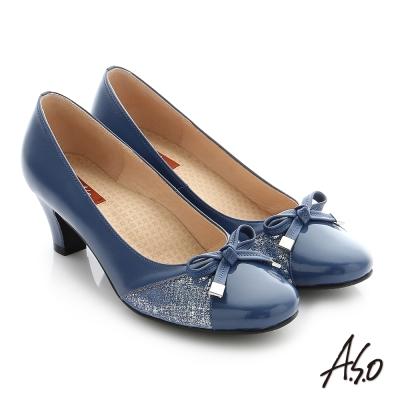 A.S.O 舒適通勤 全真皮蝴蝶結飾釦奈米中跟鞋 藍色