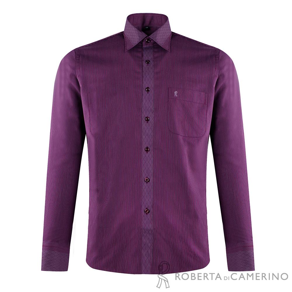 ROBERTA諾貝達 台灣製 合身版 條紋優雅長袖襯衫 紫色
