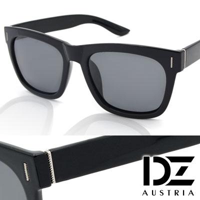 【2件59折】DZ 知性點線紋 抗UV 偏光太陽眼鏡墨鏡(黑框灰片)