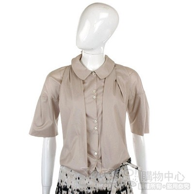 KENZO-antonio marras 卡其色剪裁設計五分袖襯衫