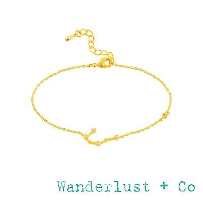 Wanderlust+Co 澳洲品牌 雙子座手鍊 金色鑲鑽手鍊 GEMINI