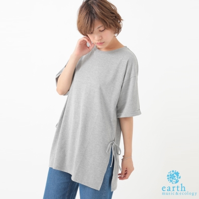 earth music 素面側開衩綁帶長版短袖上衣