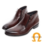 GEORGE 喬治-真皮雙拉鍊短筒紳士靴-咖啡色