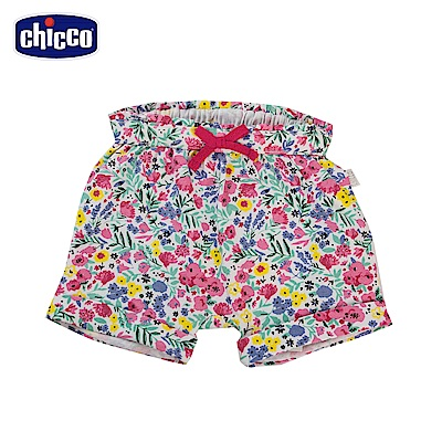 chicco-To Be Baby-抽摺反折短褲-粉花朵(12個月-4歲)