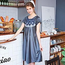 睡衣 彈性珍珠絲質高雅蕾絲性感睡衣(R75002-6深邃灰)蕾妮塔塔
