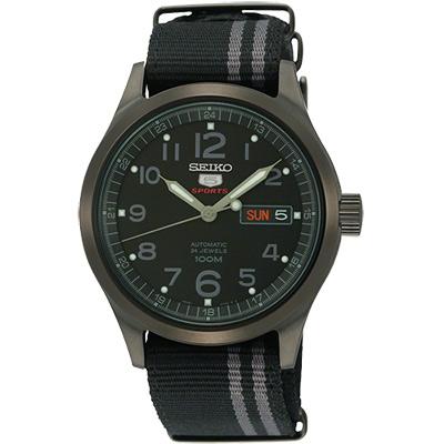 SEIKO 精工5號黑夜神風24石機械腕錶-IP黑/40mm