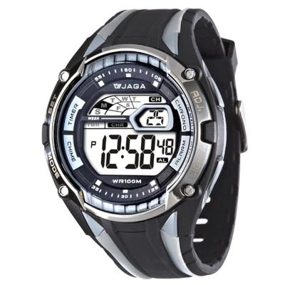 JAGA 捷卡 超級戰將多功能電子錶-黑灰/50mm