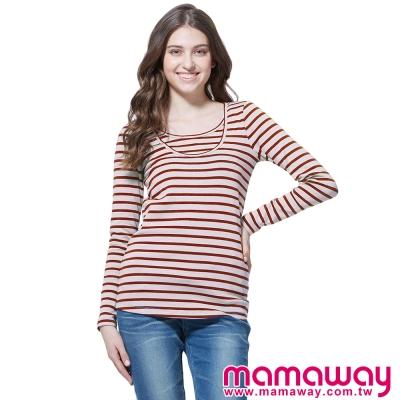 孕婦裝-哺乳衣-百搭圓領長版孕哺上衣-共四色-Ma