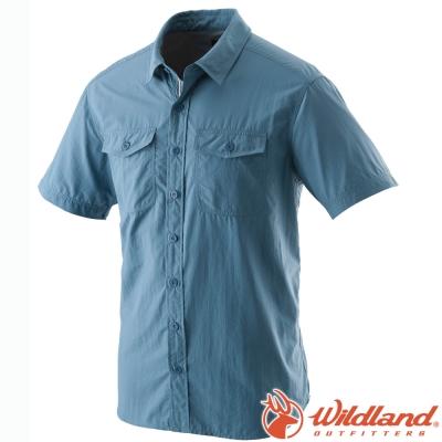 Wildland 荒野 W1206-77中藍 男 排汗抗UV短袖襯衫