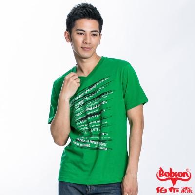 BOBSON 男款V領印圖短袖上衣(綠22027-40)