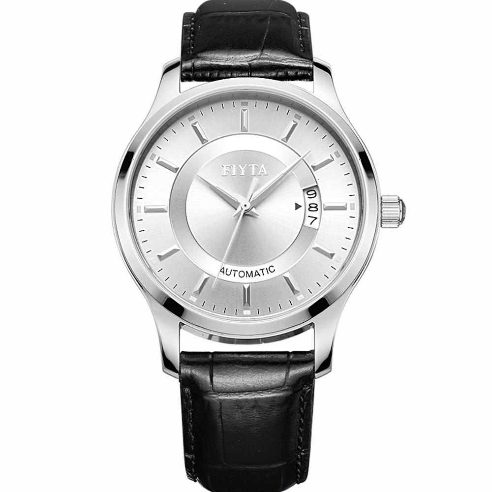 FIYTA 飛亞達 卓雅系列自動機械皮帶男錶-銀x黑色錶帶/40mm
