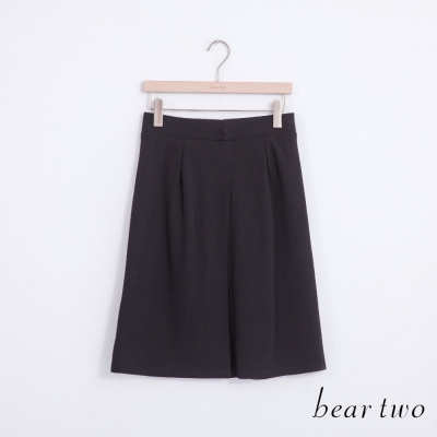 beartwo 立體打褶造型開岔修身A字裙(黑色)