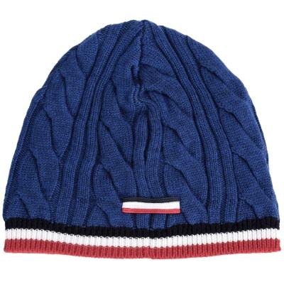MONCLER 純羊毛麻花編織針織帽(藍色)