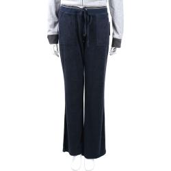 Juicy Couture 金線鑲邊細節深藍色天鵝絨休閒褲