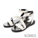 KOKKO-渡假風趣弧形繫帶平底涼鞋 - 純淨白