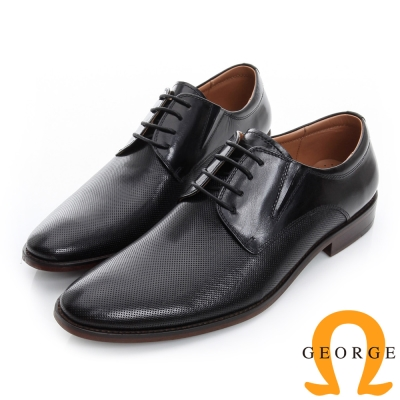 GEORGE 喬治-經典素面真皮底手工德比鞋-黑色