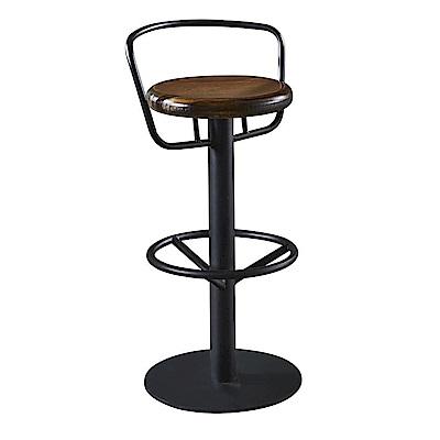 AT HOME-工業風設計圓形實木椅墊吧台椅(34*34*83cm)